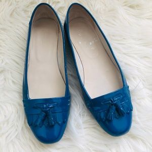 Boden Patent Leather Loafer Tassel Flats